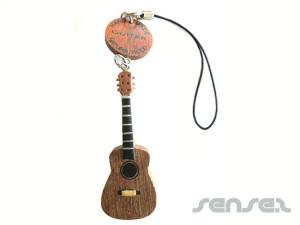 Wooden Guitar or Instruments Keyrings