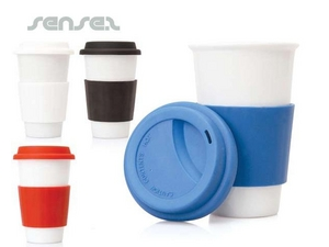 Ceramic Take Away Mugs With Silicone Sleeves (300mL)